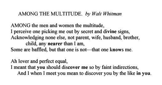 walt whitman among the multitude